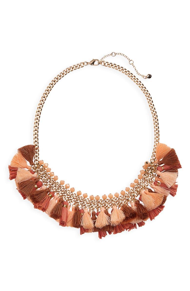 BP. Fringe Tassel Bead Necklace, Main, color, 800
