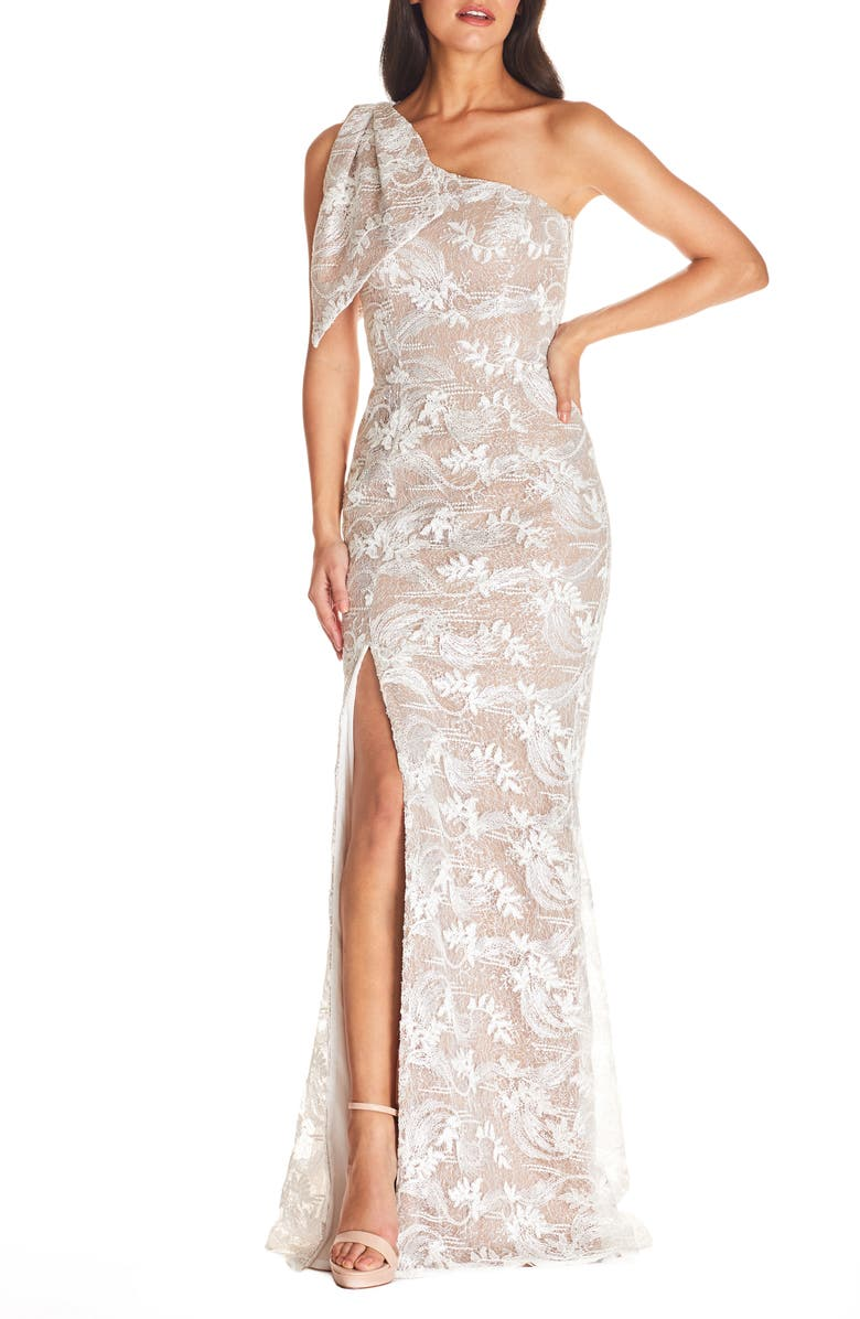 DRESS THE POPULATION Genevieve One-Shoulder Floral Lace Gown, Main, color, WHITE