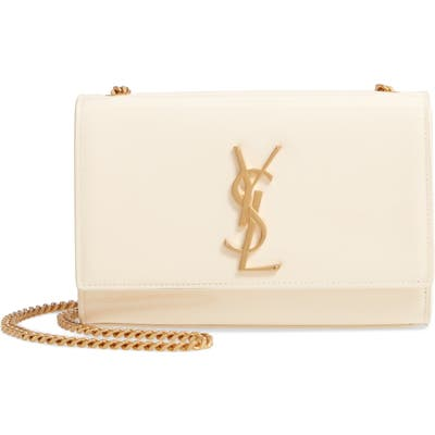 Saint Laurent Small Kate Patent Leather Chain Crossbody Bag - White