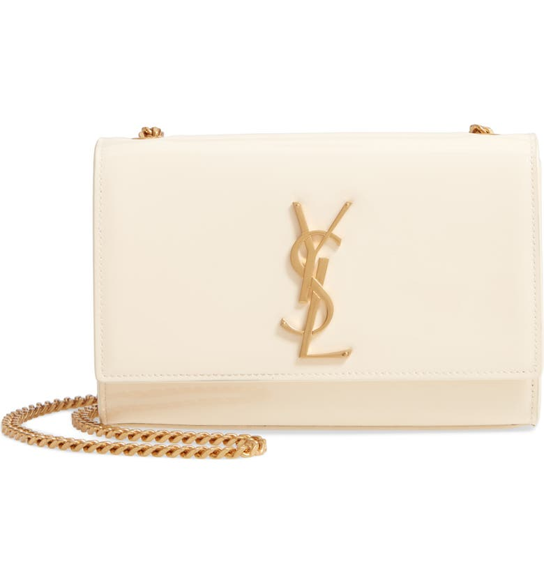 SAINT LAURENT Small Kate Patent Leather Chain Crossbody Bag, Main, color, PORCELAINE