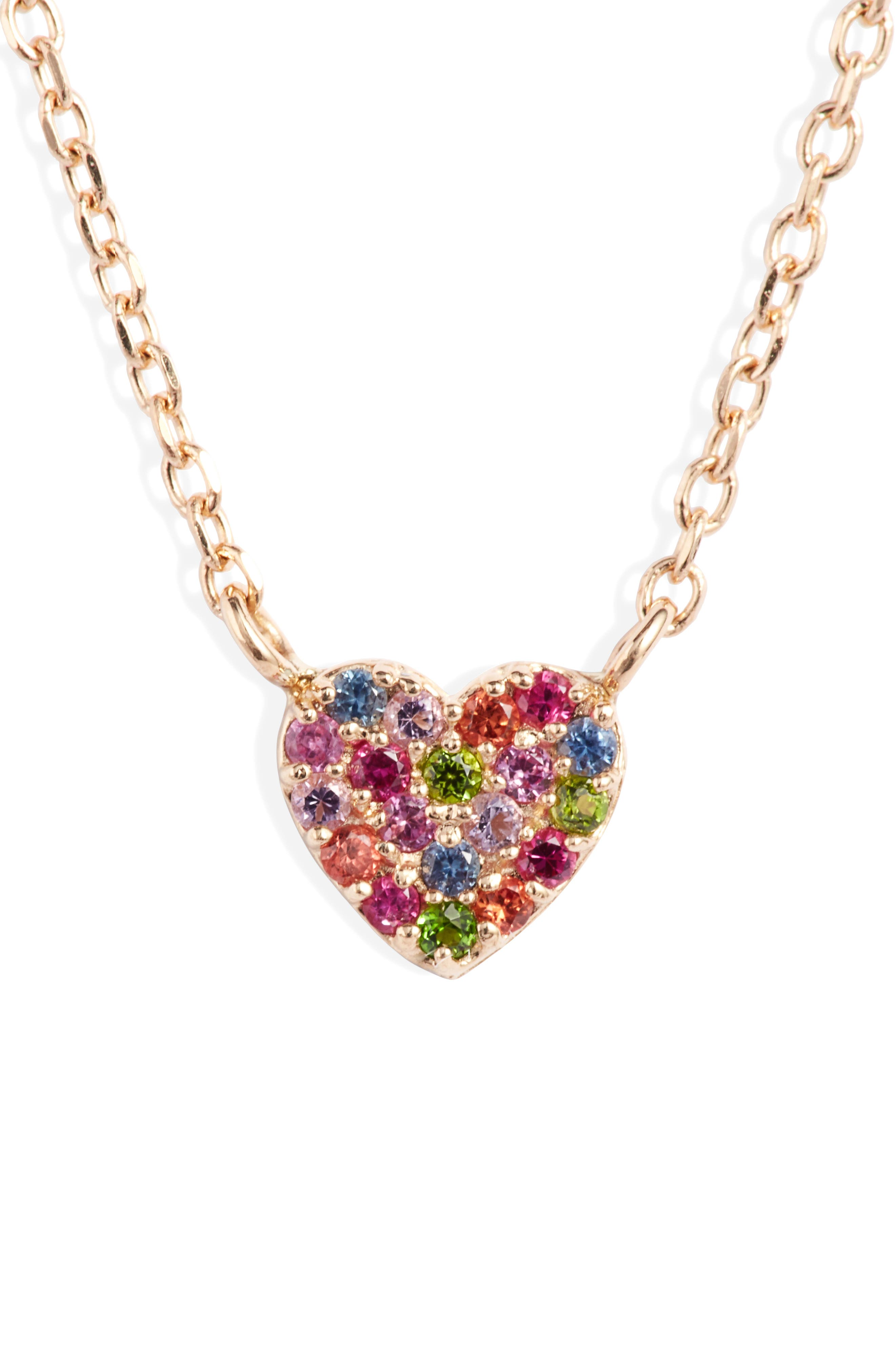 Love Rainbow Heart Pendant Necklace