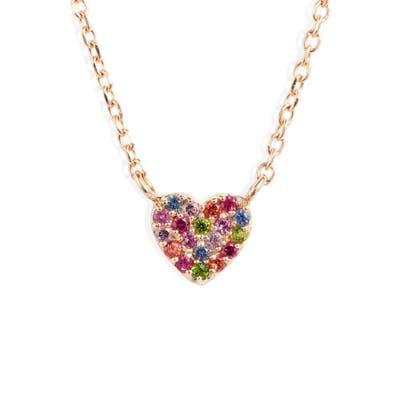 Anzie Love Rainbow Heart Pendant Necklace