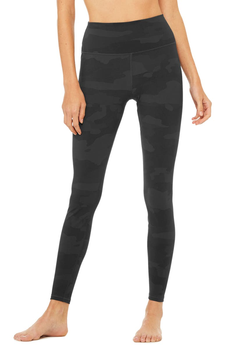 ALO Vapor High Waist Leggings, Main, color, BLACK CAMOUFLAGE