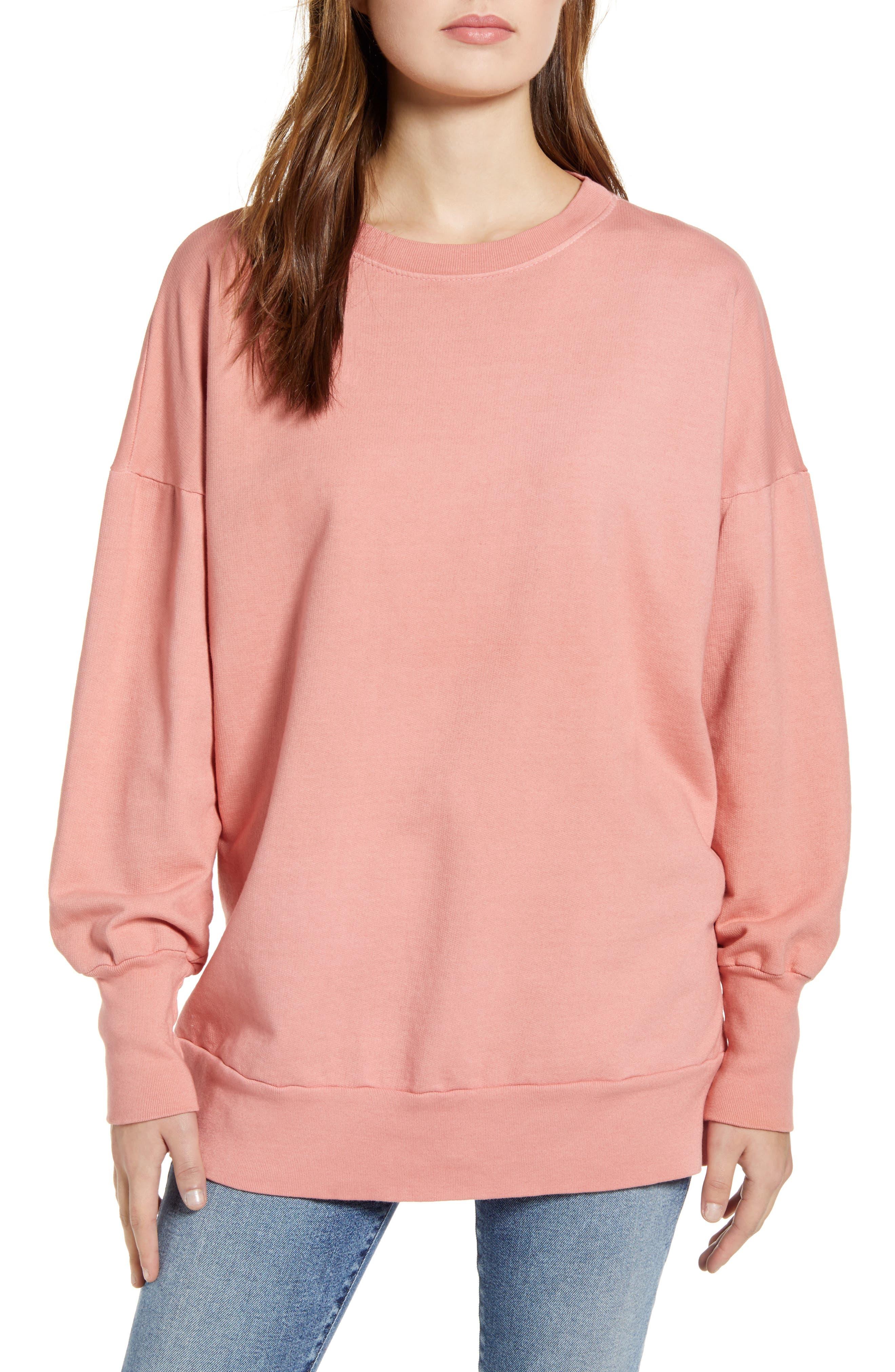Caslon® Side Slit Cotton Sweatshirt