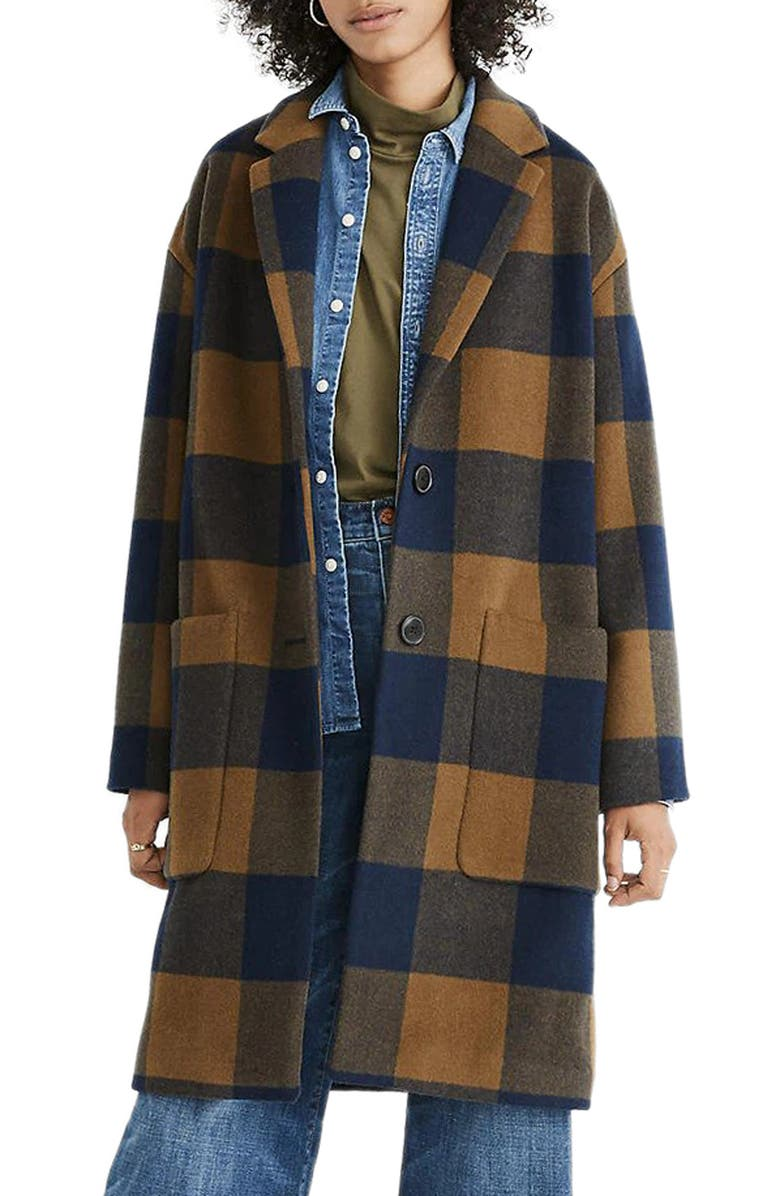 MADEWELL Elmcourt Buffalo Check Coat, Main, color, BILLY BUFFALO ASPARAGUS