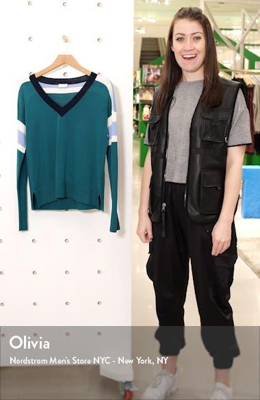 Stripe V-Neck Merino Wool Sweater, sales video thumbnail
