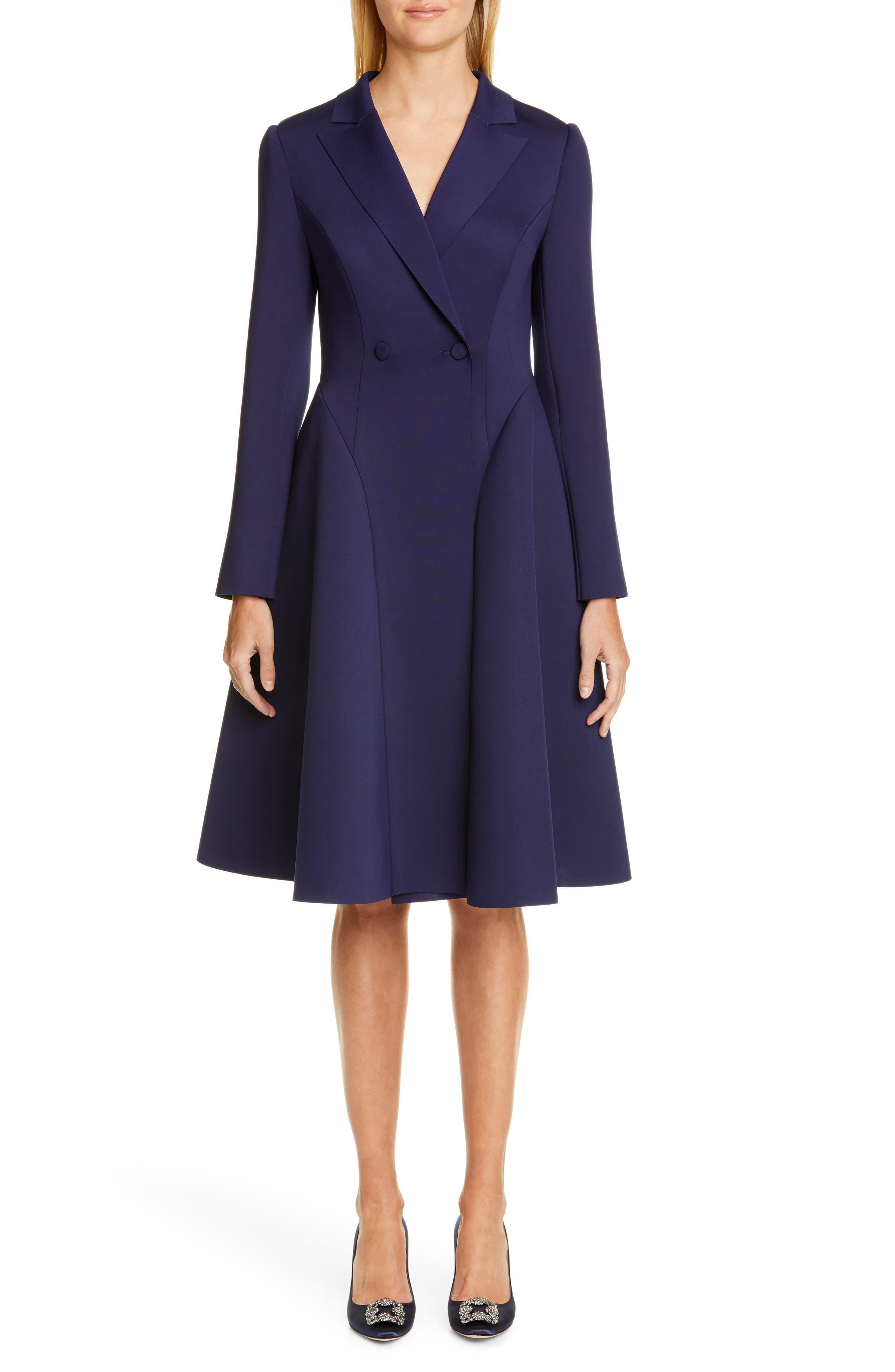Badgley Mischka Long Sleeve Scuba Dress, Blue