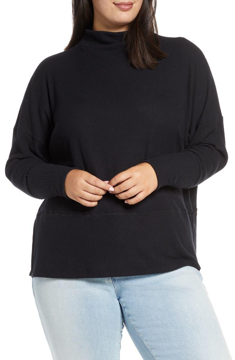 CASLON<SUP>®</SUP> Rib Funnel Neck Sweater, Main, color, BLACK