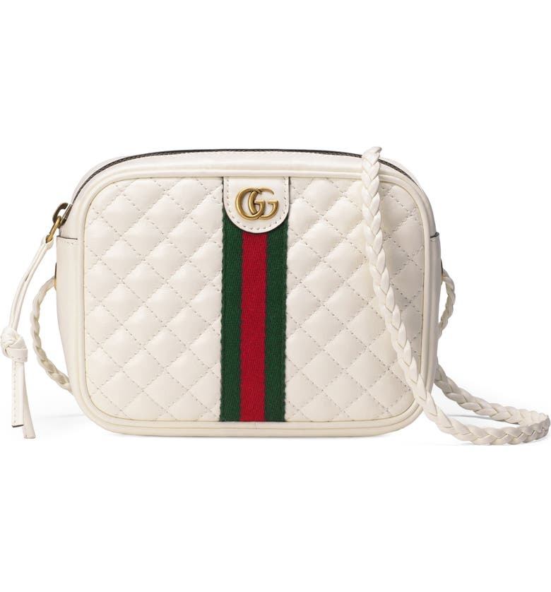 GUCCI Small Quilted Leather Camera Bag, Main, color, OFF WHITE/ VERT/ RED