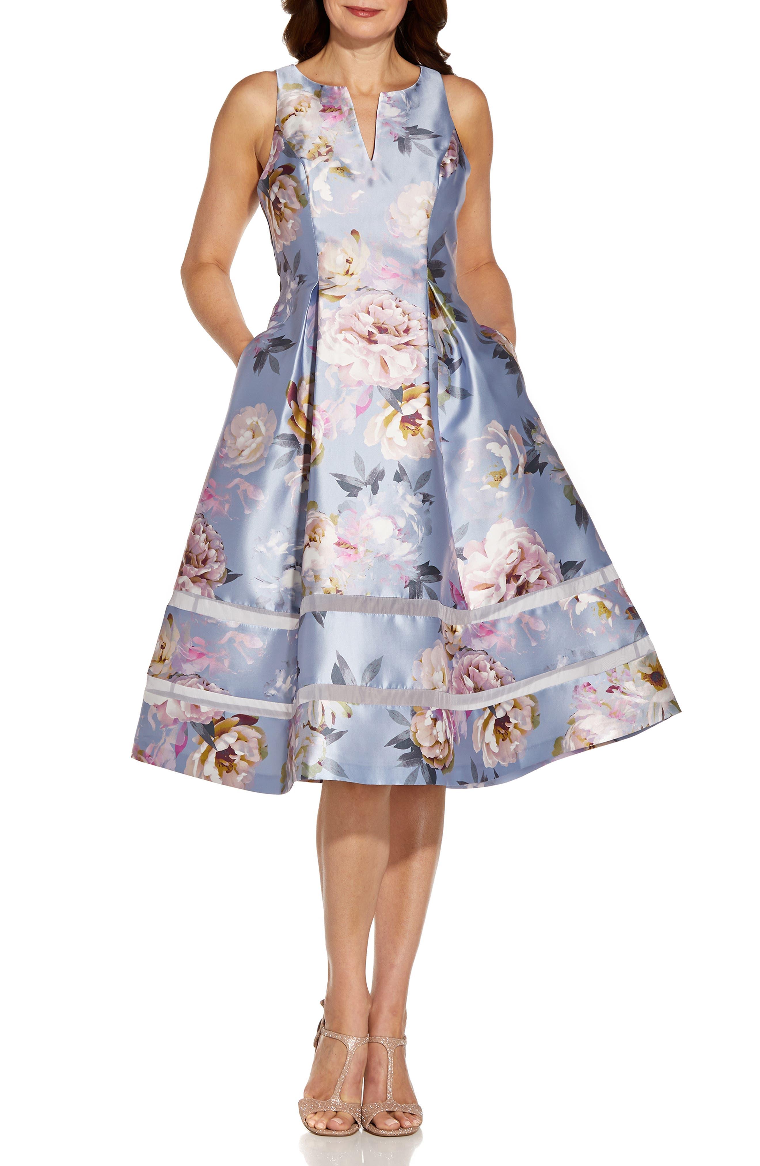 Floral Mikado Fit & Flare Midi Dress