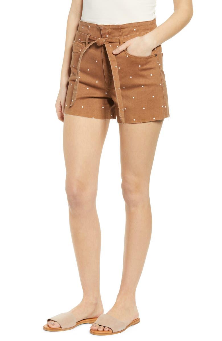 TINSEL Polka Dot Belted Denim Shorts, Main, color, 200
