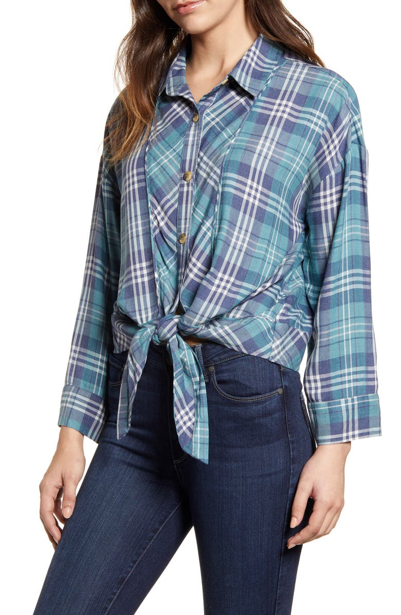 WIT & WISDOM Plaid Tie Front Blouse, Main, color, NAVY/ IVY WALL