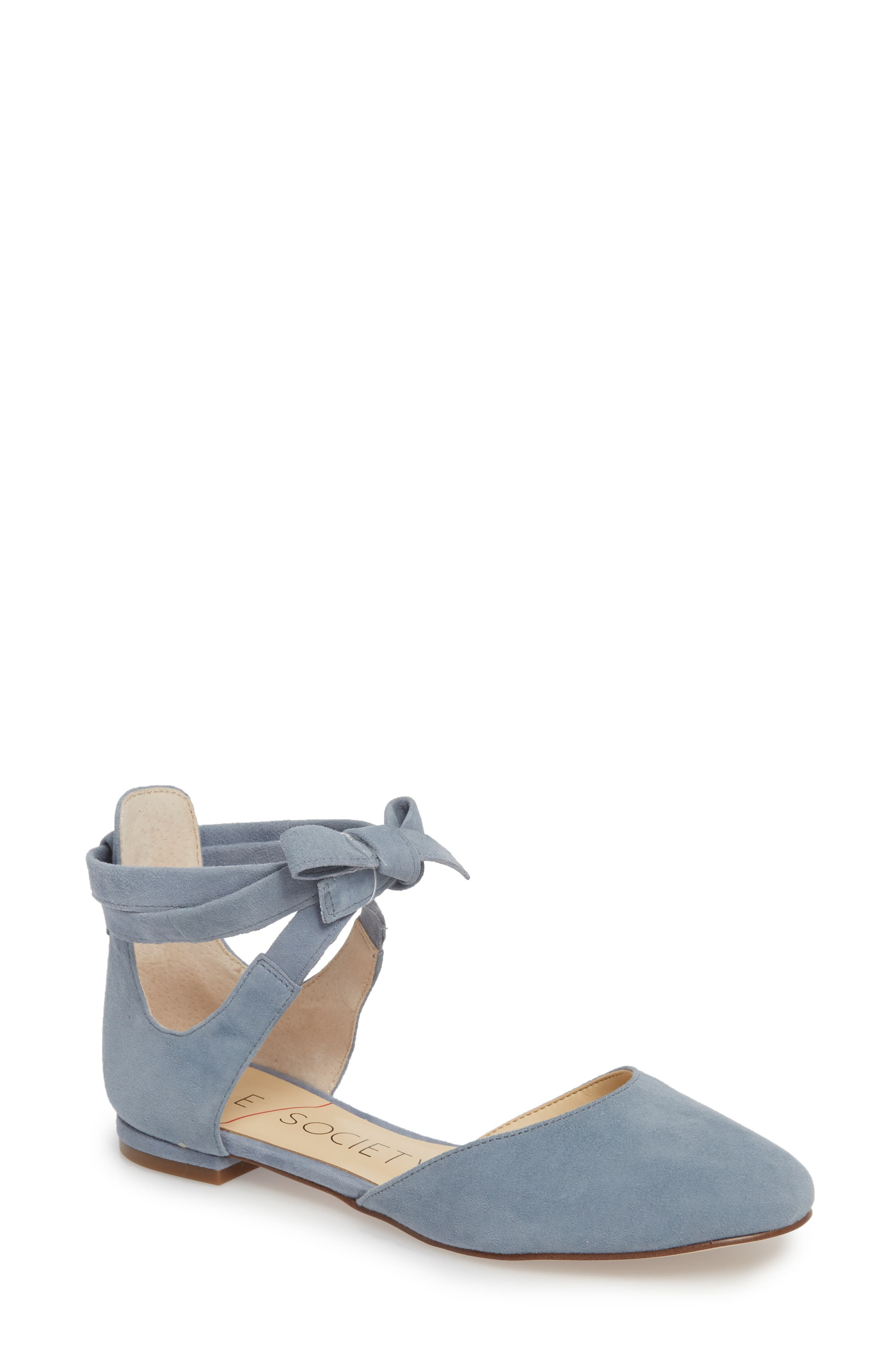 Sole Society Pauly Ankle Wrap Flat, Blue