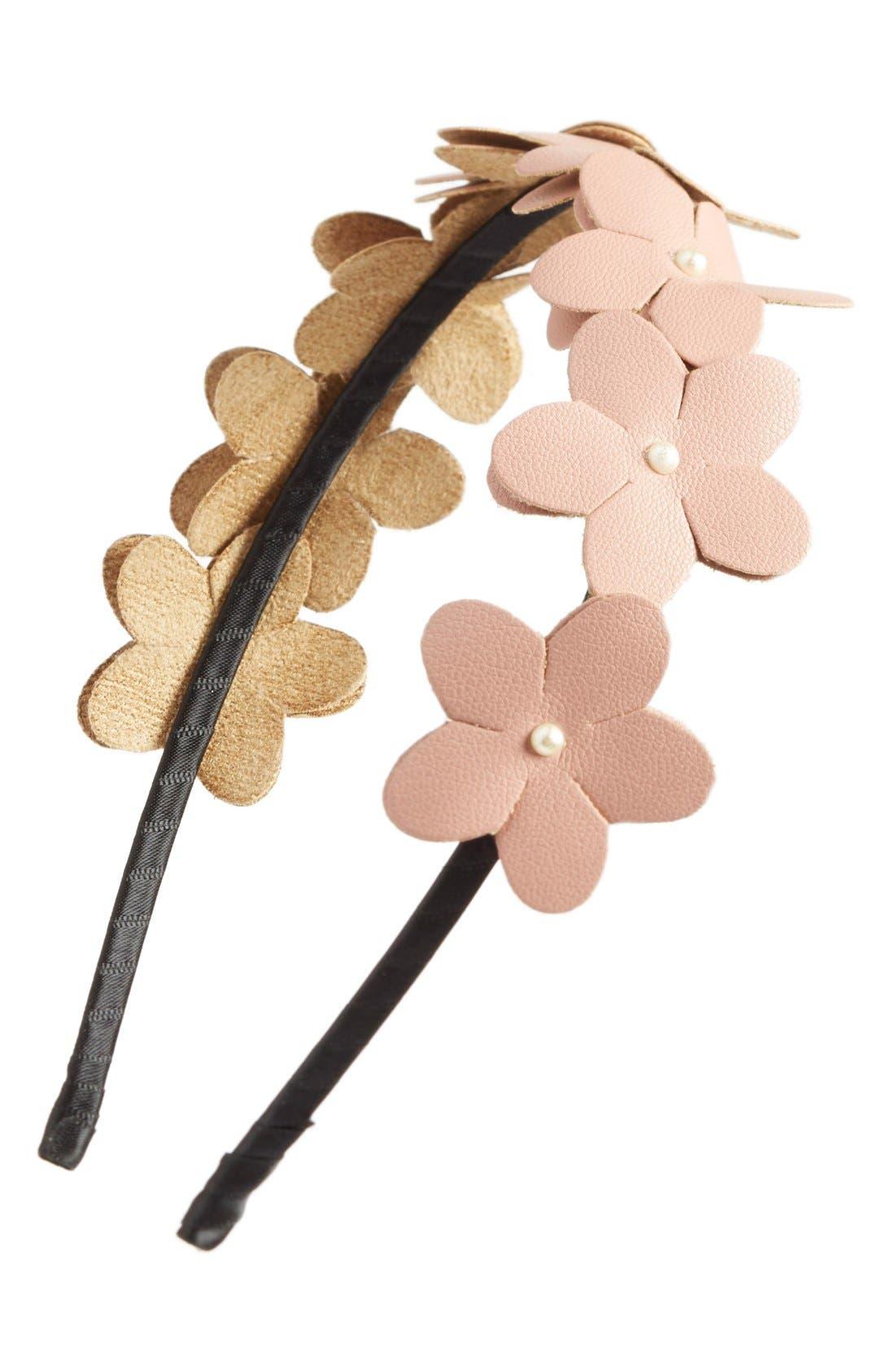 ,                             Faux Leather Flower Headband,                             Main thumbnail 6, color,                             950