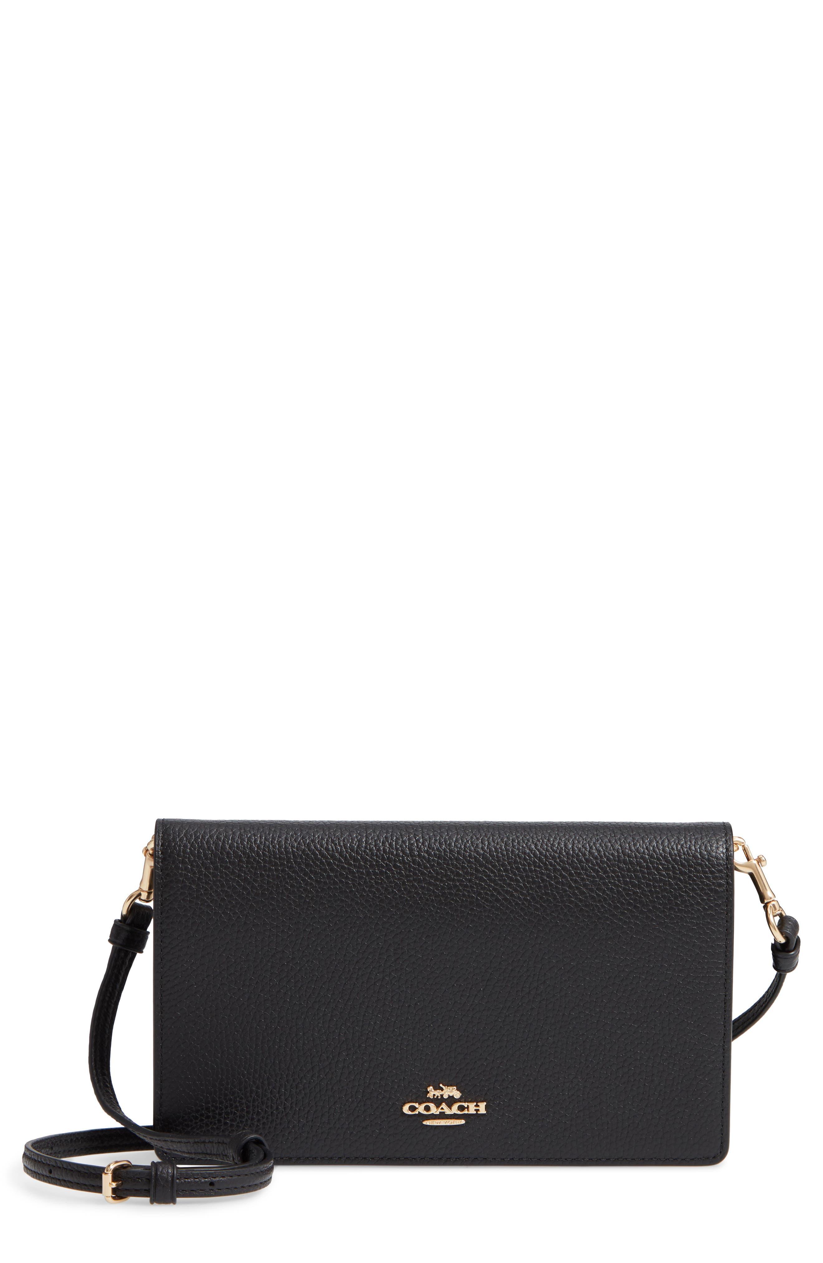Foldover Calfskin Leather Convertible Clutch, Main, color, LI/ BLACK