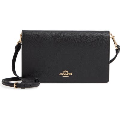 Coach Foldover Calfskin Leather Convertible Clutch - Black