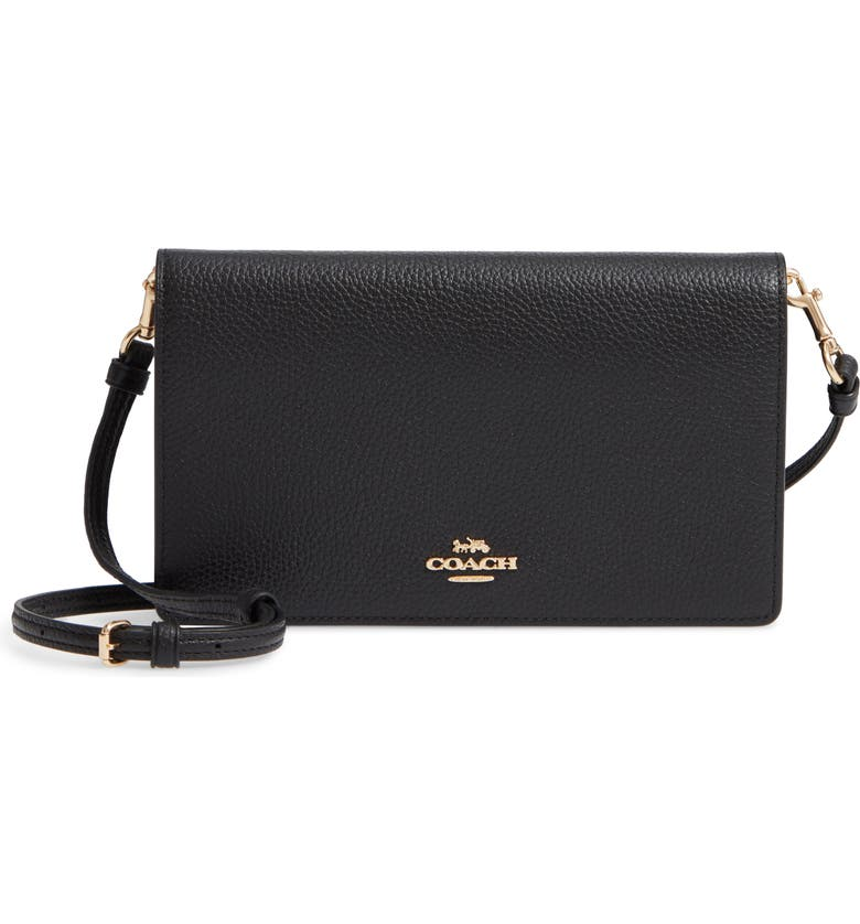 COACH Foldover Calfskin Leather Convertible Clutch, Main, color, LI/ BLACK