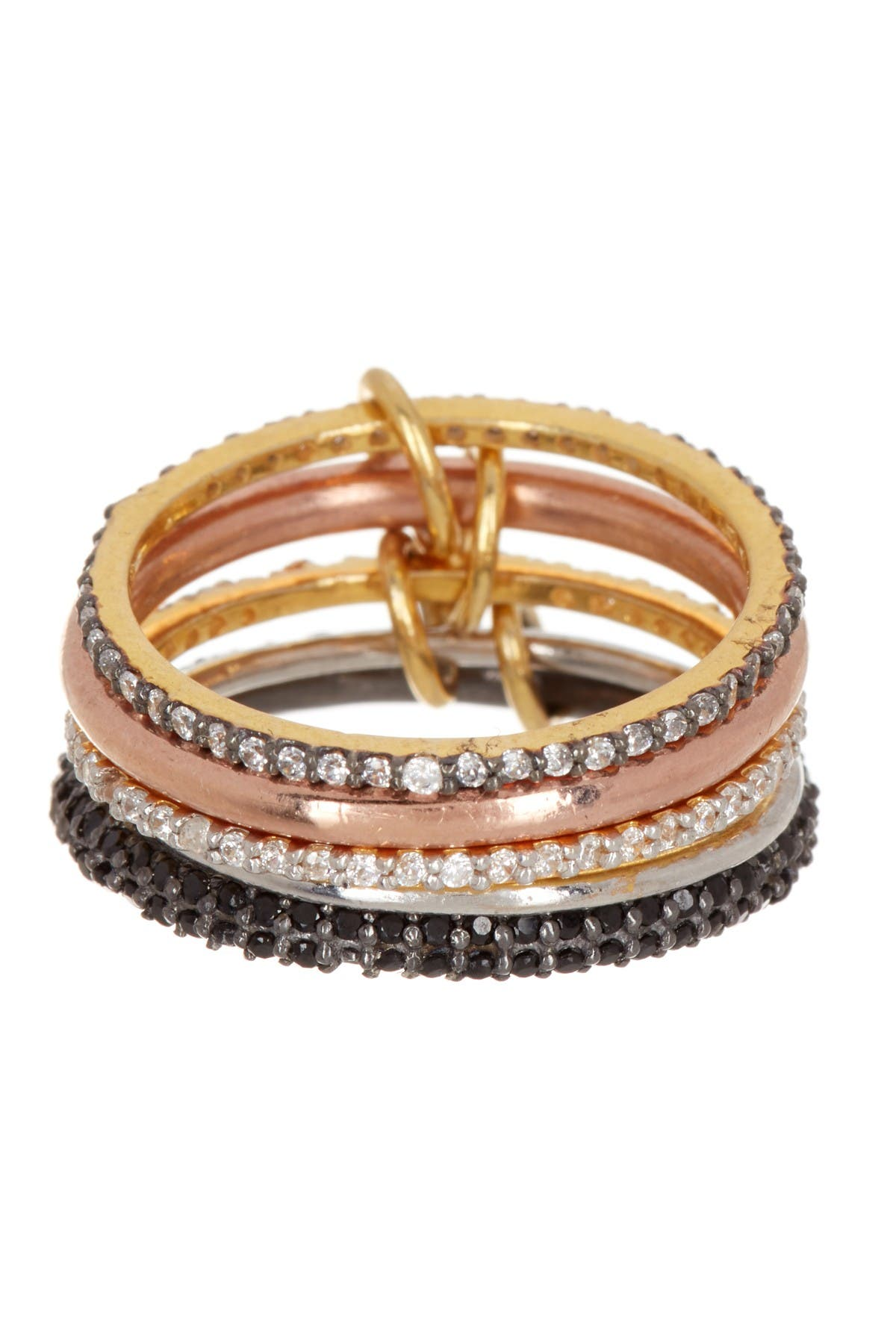 Image of Forever Creations USA Inc. Tri-Tone Black Spinel & Simulated Diamond Stackable Ring
