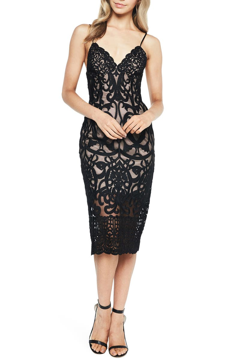BARDOT Gia Lace Pencil Dress, Main, color, 002