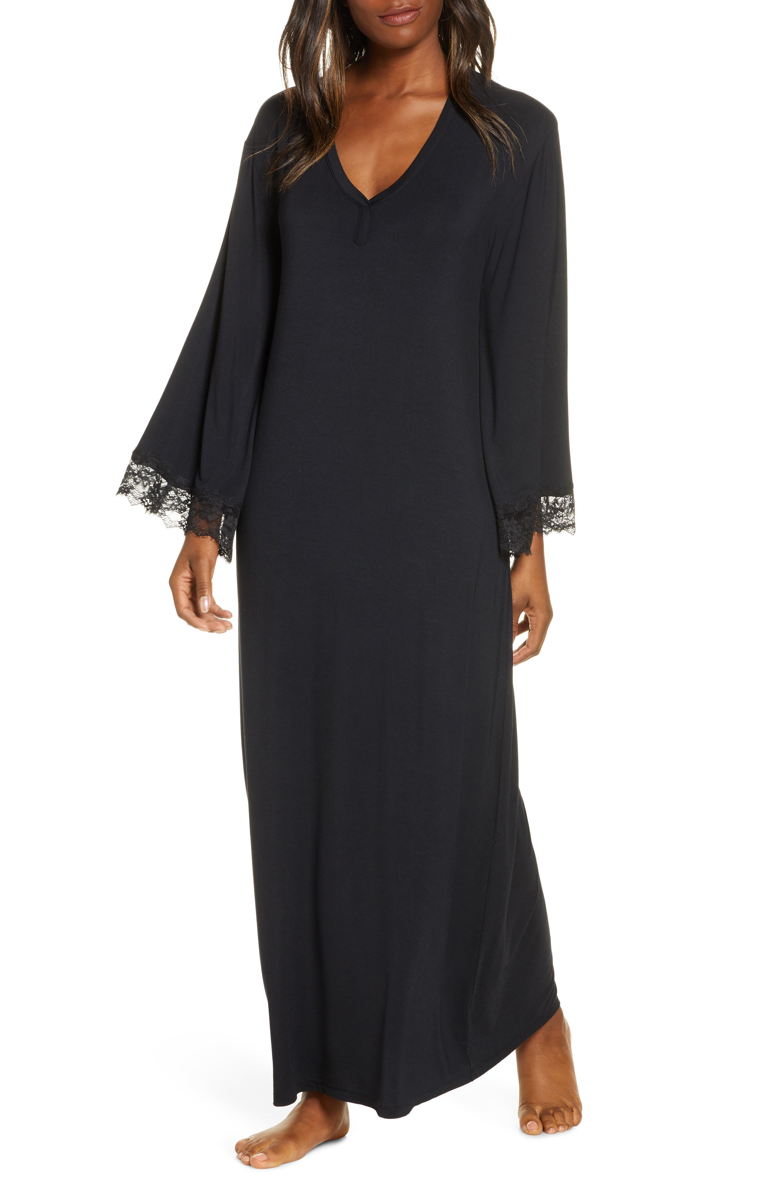 Vintage 1920s Dresses – Where to Buy Womens Nordstrom Lace Trim Knit Caftan $75.00 AT vintagedancer.com