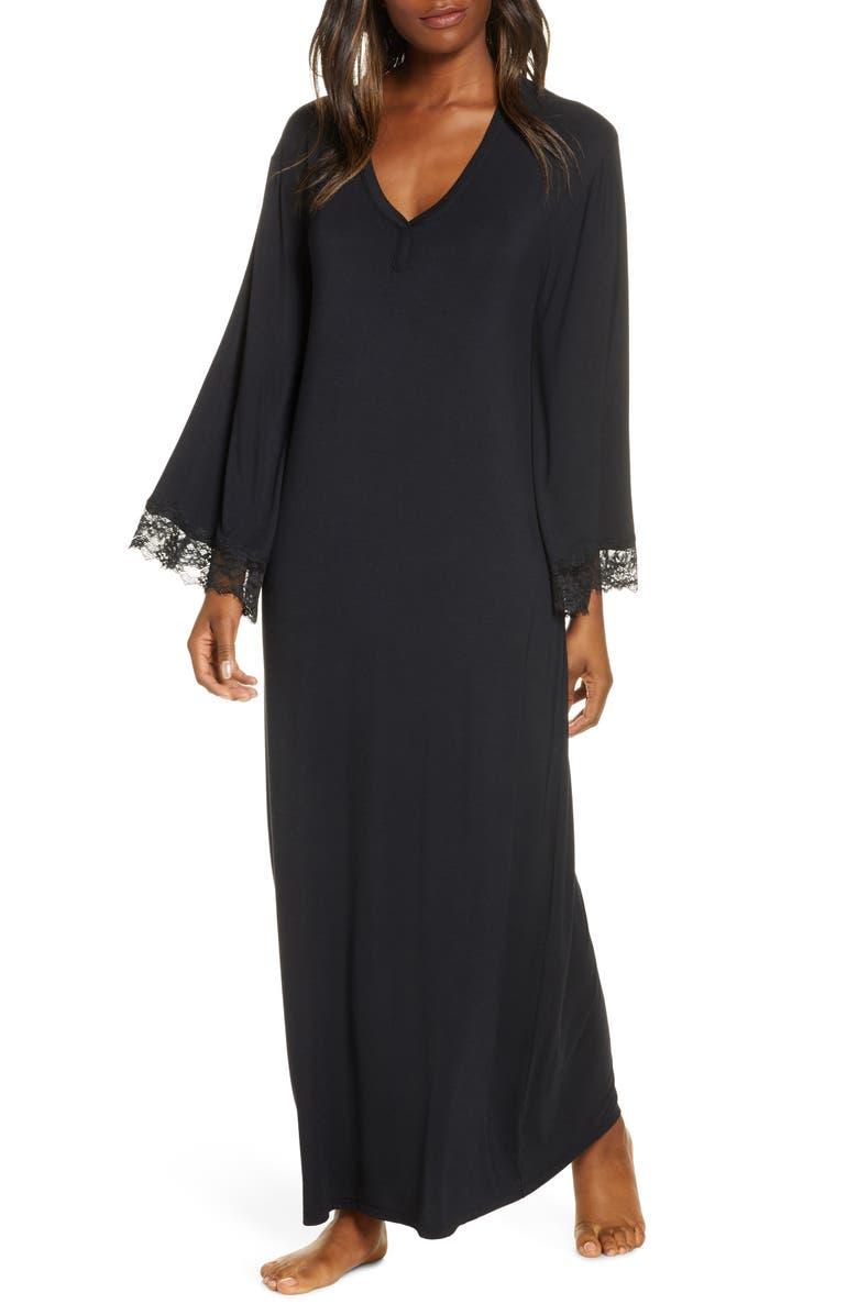 NORDSTROM Lace Trim Knit Caftan, Main, color, BLACK