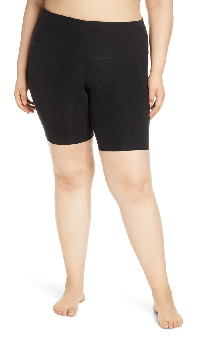BEYOND YOGA High Waist Bopo Bike Shorts, Main, color, DARKEST NIGHT