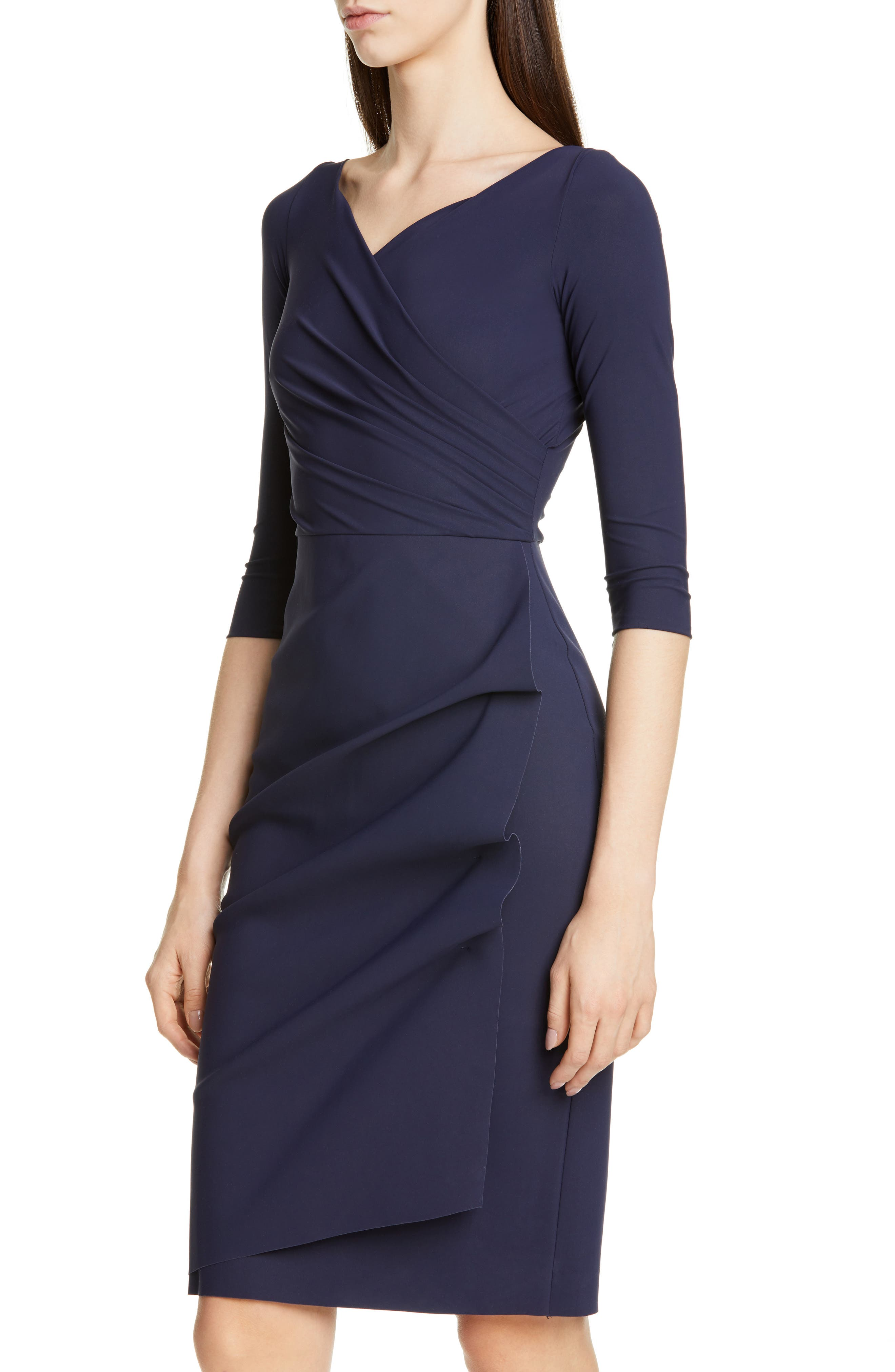 ,                             Florien Ruched Cocktail Dress,                             Alternate thumbnail 5, color,                             MIDNIGHT