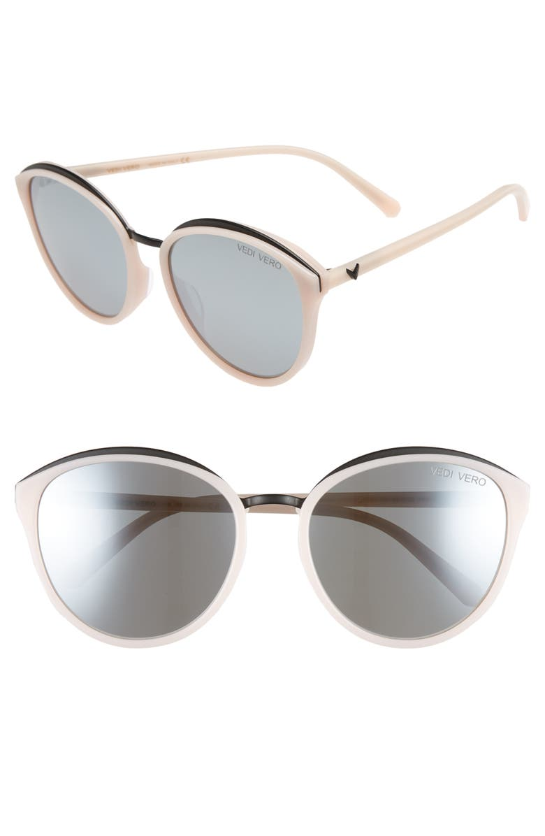 VEDI VERO 59mm Mirrored Round Cat Eye Sunglasses, Main, color, PINK