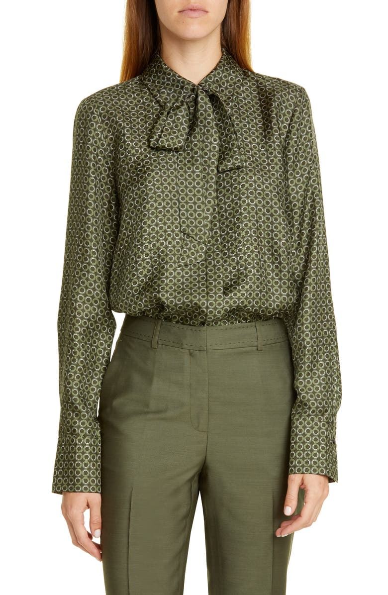 LAFAYETTE 148 NEW YORK Diana Tie Neck Print Silk Blouse, Main, color, SYCAMORE GREEN MULTI