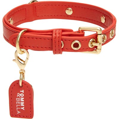 Tommy & Bella Signature Collection Leather Dog Collar, Red