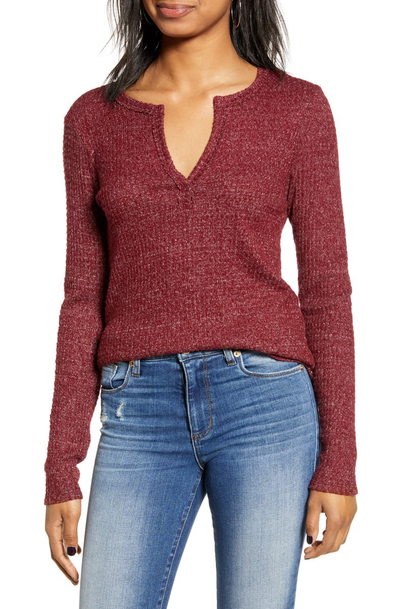 SOCIALITE Long Sleeve Thermal Henley Top, Main, color, RED RHUBARB