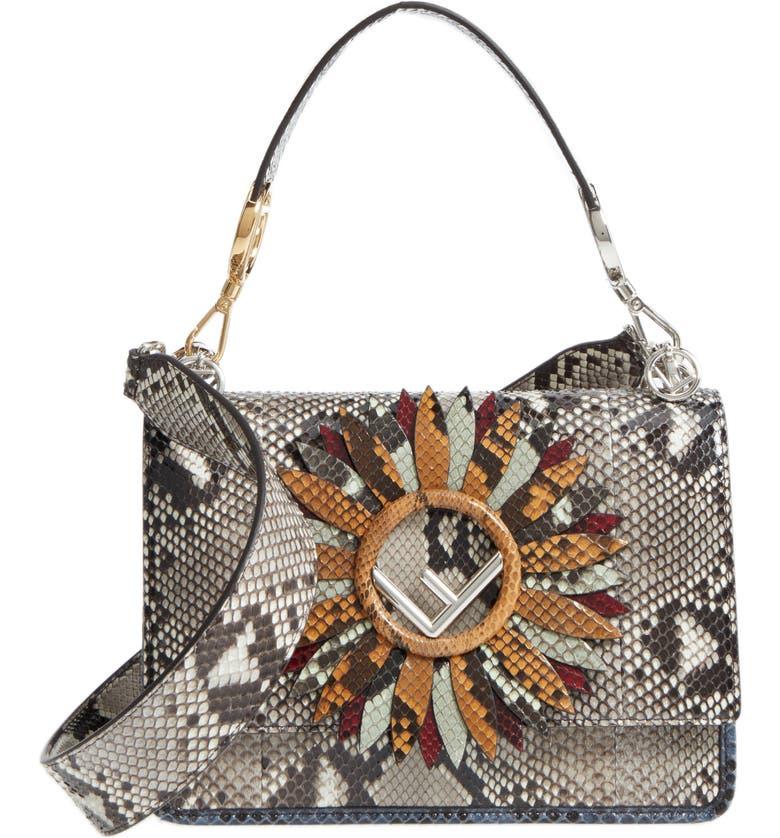FENDI Kan I Daisy Logo Genuine Python Shoulder Bag, Main, color, ROCCIA MULTI