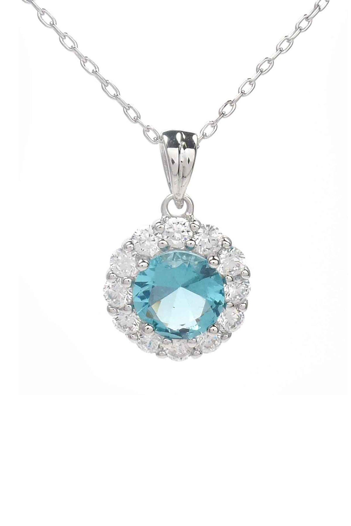 Image of Savvy Cie Rhodium Plated CZ Drop Pendant Necklace