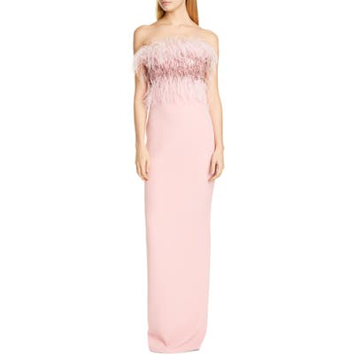 Pamella Roland Crystal Feather Bodice Column Gown, Pink