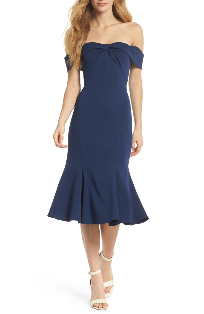 GAL MEETS GLAM COLLECTION Tyler Off the Shoulder Scuba Crepe Dress, Main, color, 462