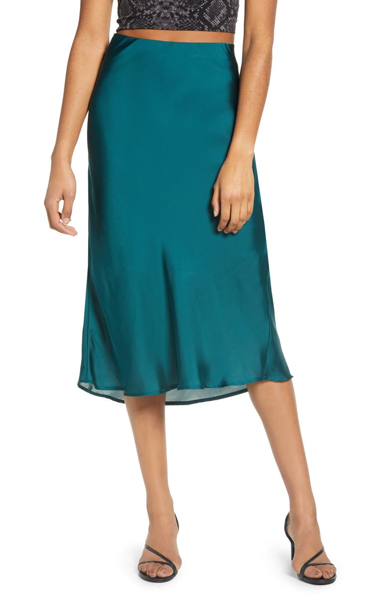 LEITH Satin Midi Skirt, Main, color, DEEP TEAL