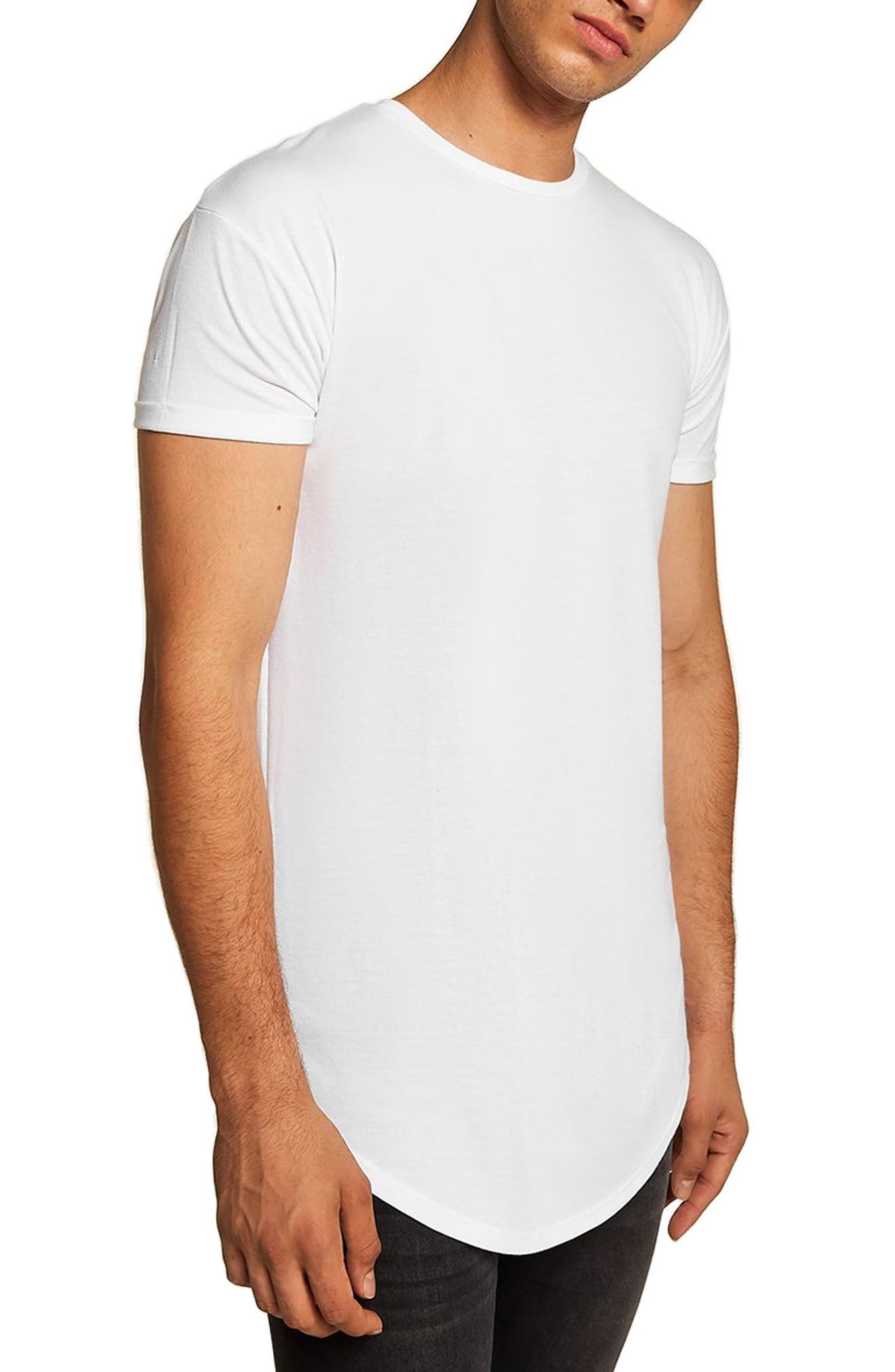 Mens Vintage Shirts – Retro Shirts Mens Topman Scotty Longline Slim Fit T-Shirt Size XX-Large - White $30.00 AT vintagedancer.com