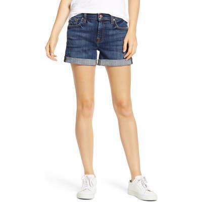 7 For All Mankind Roll Cuff Denim Shorts, Blue