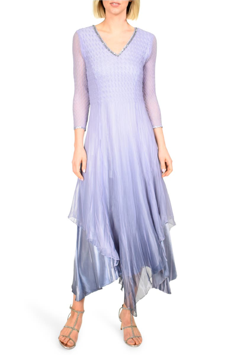 KOMAROV Beaded V-Neck Chiffon Overlay Charmeuse Gown, Main, color, LAVENDER BLUE OMBRE