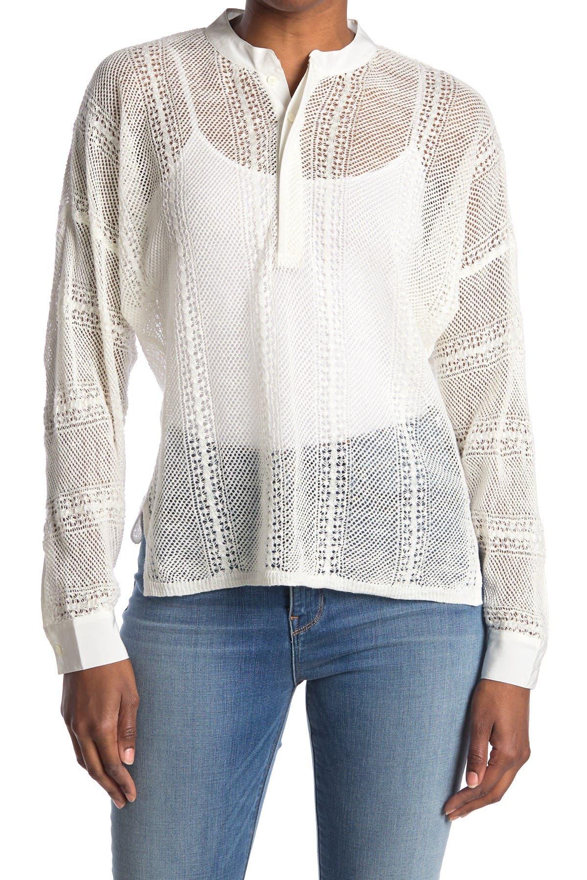 Image of FRAME Open Stitch Linen Henley Shirt
