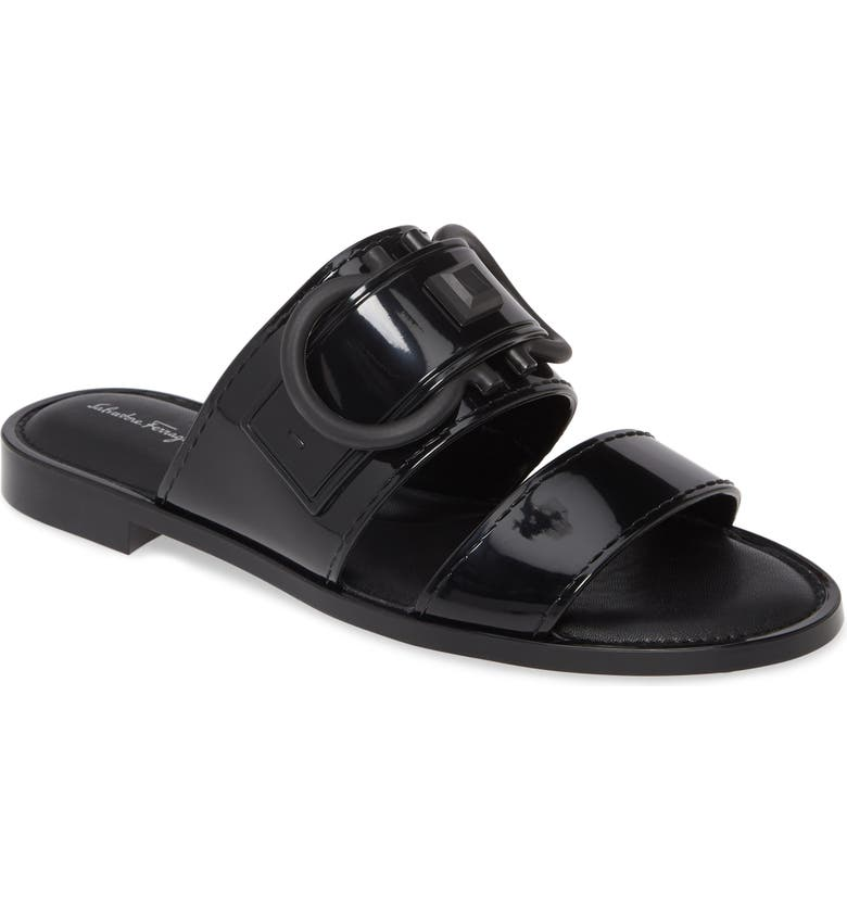 SALVATORE FERRAGAMO Taryn Logo Slide Sandal, Main, color, BLACK