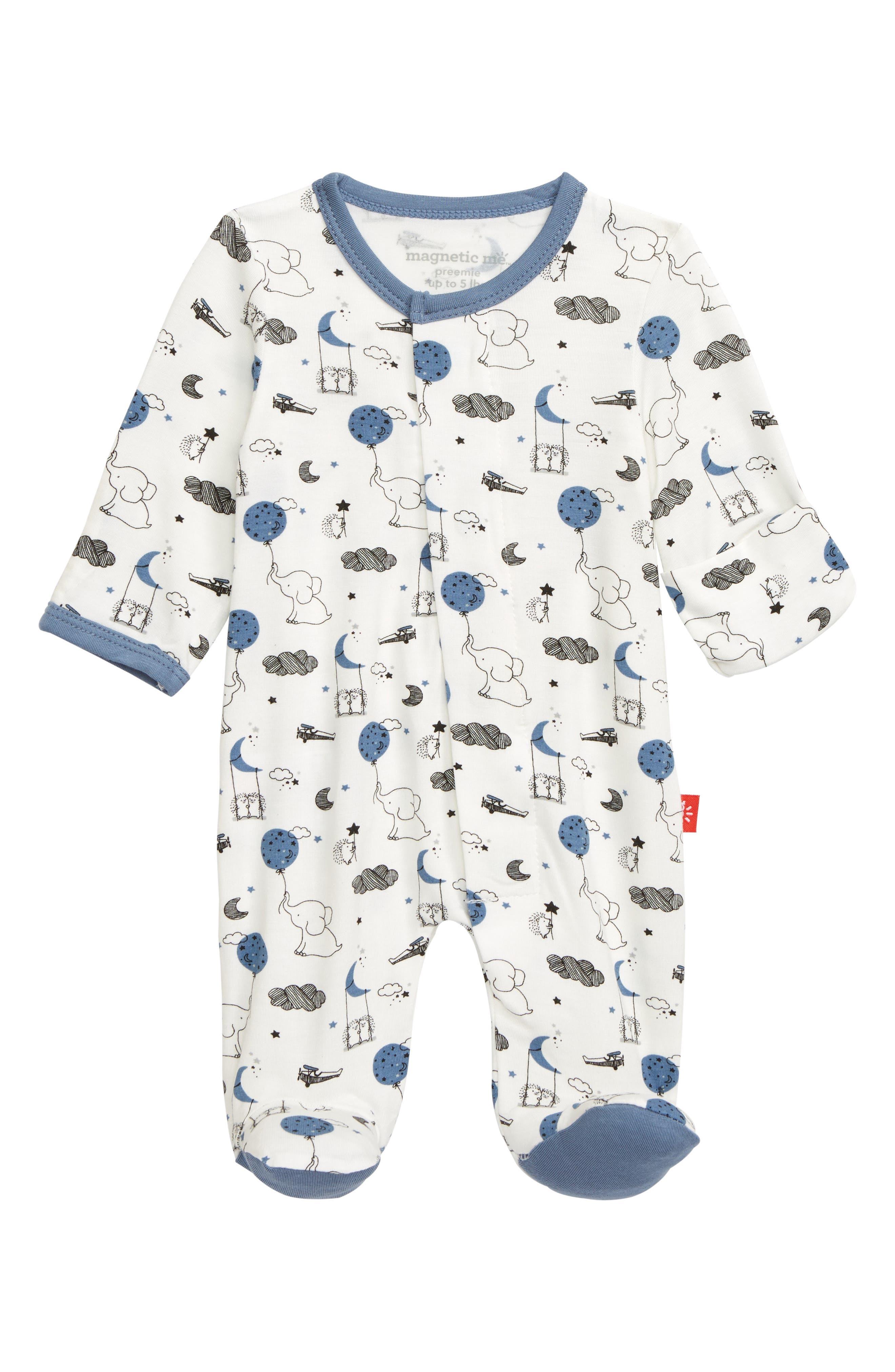 Infant Boys Magnetic Me Skylark Organic Cotton Footie Size 912M  Blue