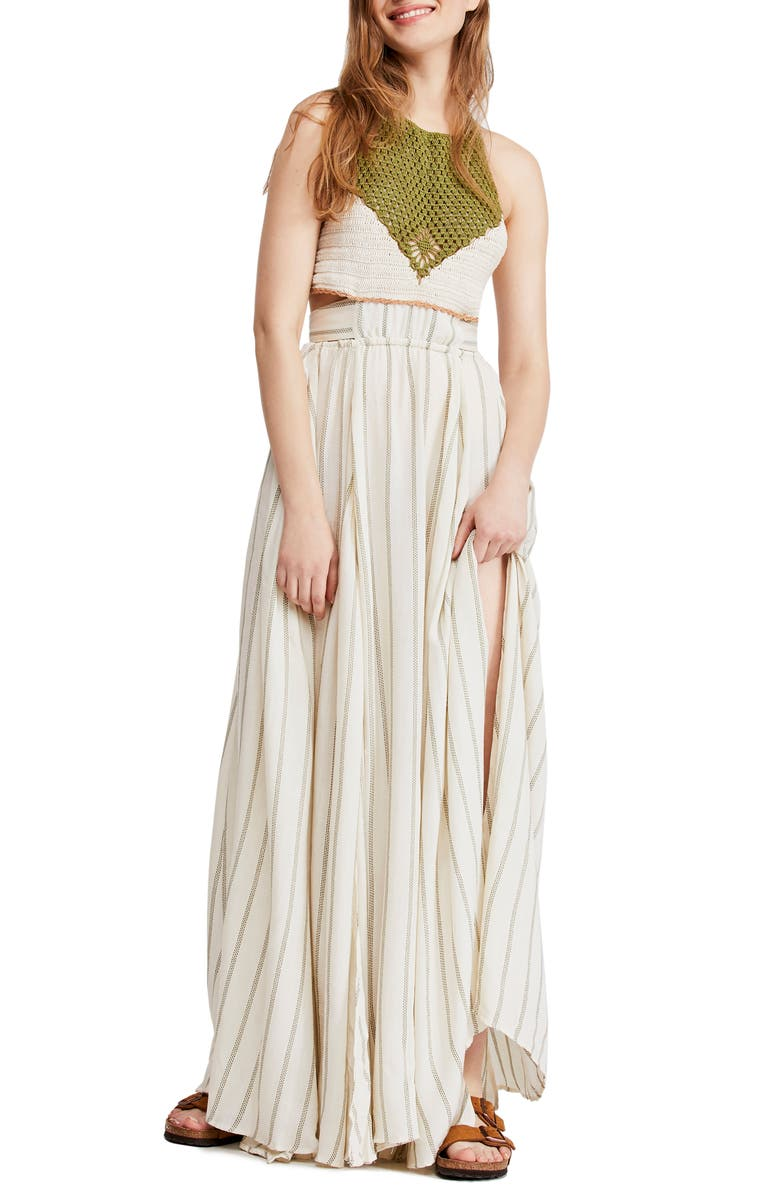 FREE PEOPLE Harper Halter Maxi Dress, Main, color, IVORY COMBO