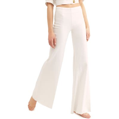 Free People Wide Leg Flare Pants, White