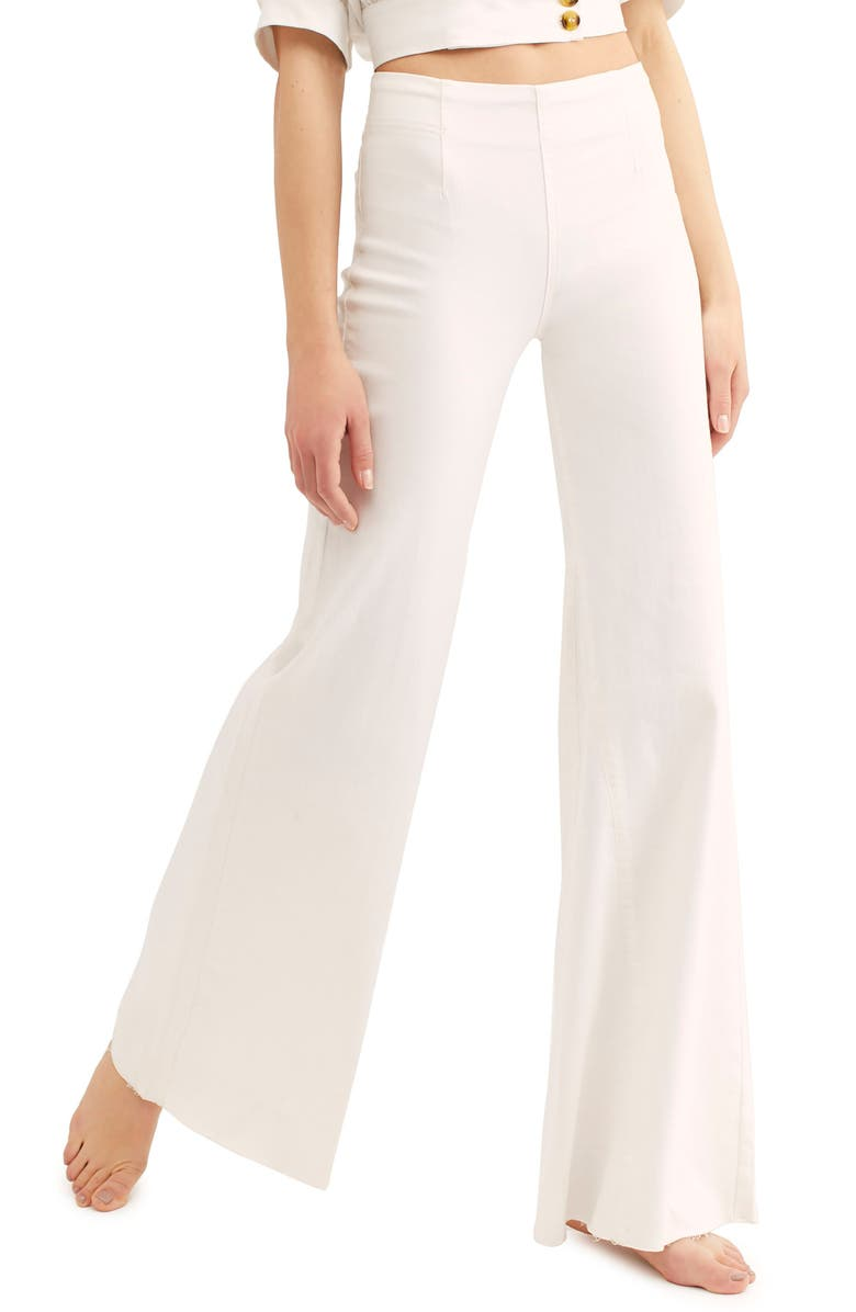FREE PEOPLE Wide Leg Flare Pants, Main, color, 100