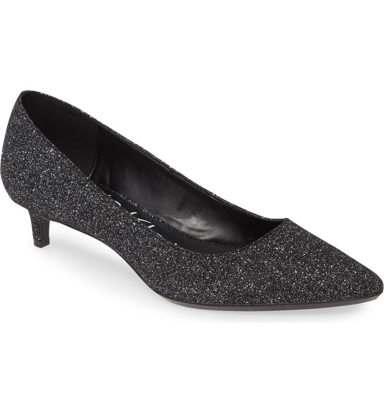 CALVIN KLEIN Gabrianna Pump, Main, color, BLACK GLITTER FABRIC