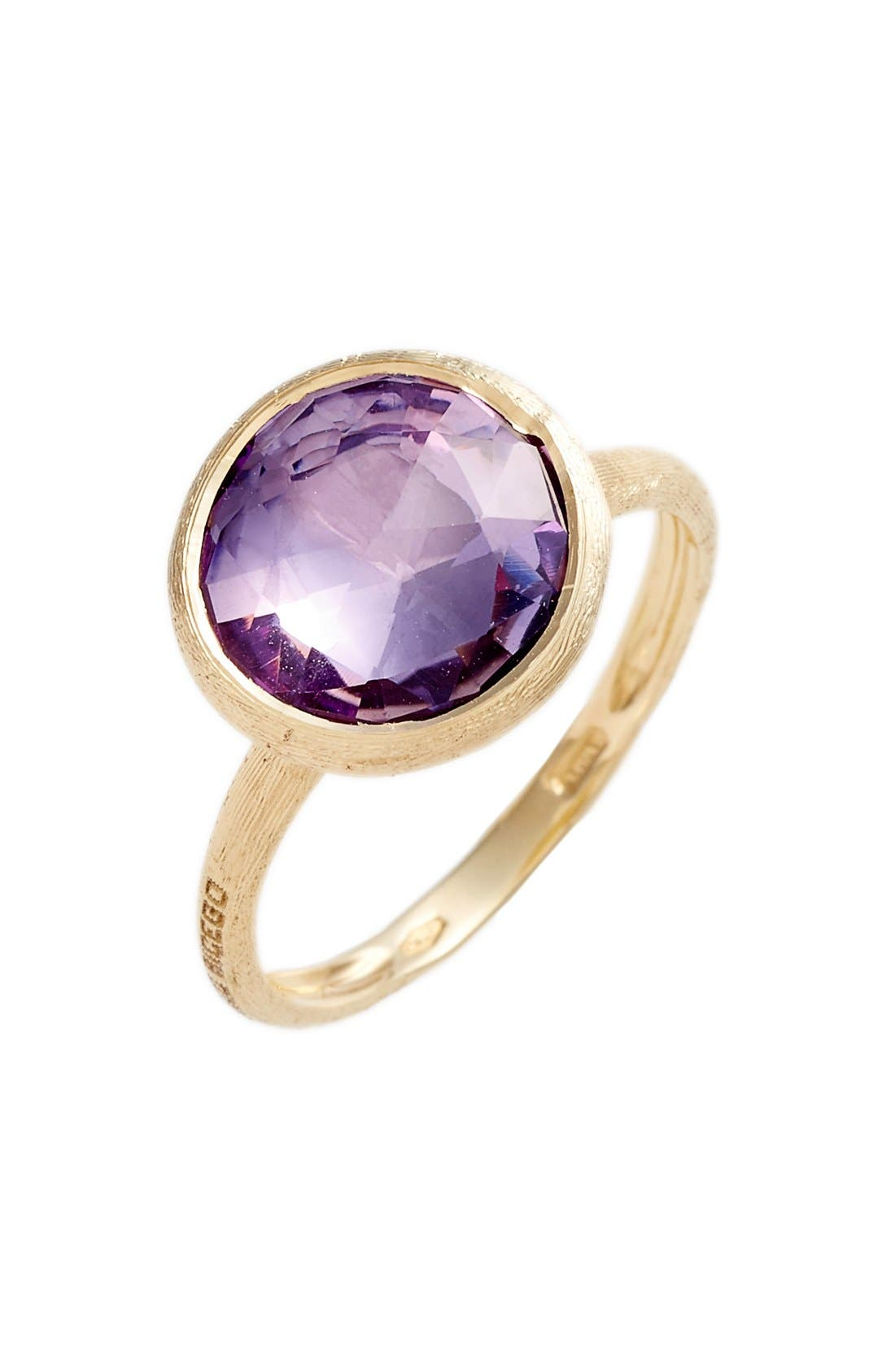 Stackable Semiprecious Stone Ring, Main, color, YELLOW GOLD/ AMETHYST