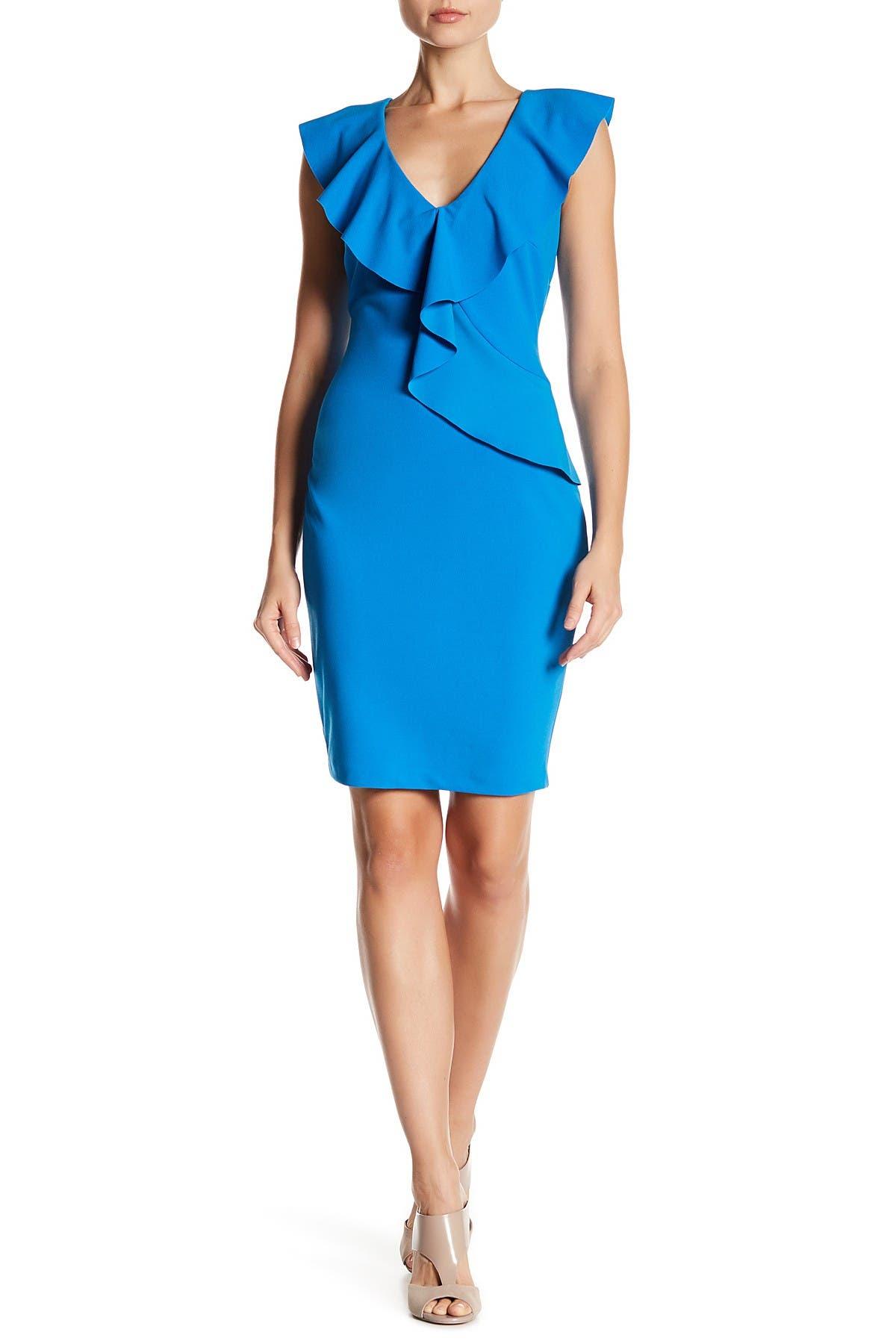 Image of Alexia Admor Asymmetric Ruffle Sheath Dress