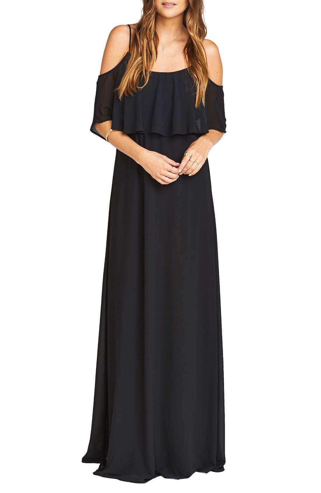 Show Me Your Mumu Caitlin Cold Shoulder Chiffon Gown, Black