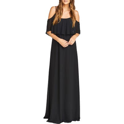 Show Me Your Mumu Caitlin Cold Shoulder Chiffon Gown, Black